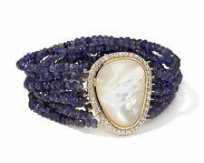 Meher Vermeil 2ct MOP w/ White Zircon Accents & Iolite Beads Stretch Bracelet SS