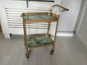 VINTAGE 1960's 2 TIER HOSTESS GIN TROLLEY GOLD & MARBLE EFFECT
