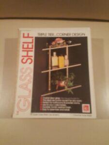 "Triple Tier Corner Design Clear Glass Shelf from Handy Andy 12.75"" x 6.5"" x 13.5"