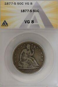 1877-S  .50   ANACS   VG 8   1800's Half Dollar, Liberty Seated Half