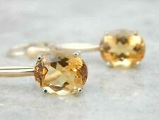 Vintage Citrine Gold Bar Drop Earrings