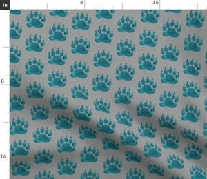 Bear Paws Teal Grey Gray Spoonflower Fabric by the Yard