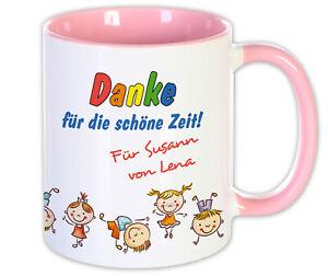 Geschenk Kita Abschied Tasse rosa Erzieherin Abschluss Dankeschön Kindergarten
