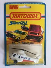 MATCHBOX LESNEY MB 75 HELICOPTER RESCUE BLUE WINDOWS SUPERFAST 70's