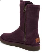 UGG COLLECTION ABREE SHORT AUBERGINE SUEDE SHEARLING BOOTS SIZE 6 NEW