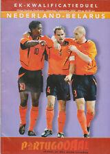 Programme / Programma Holland v Belarus 07-09-2002 EURO 2004 Qualifier