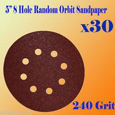 "5"" 8 Hole 240 Grit Sand Disc Paper Random Orbit Hook and Loop Sander #240 AO"