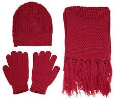 High Quality Warm Knitted Winter Set Women Men Solid Beanie Gloves Scarf Set