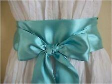 "2.5""X60"" MINT GREEN SATIN SASH BOW BELT OR HEADBAND UPDATE PARTY  DRESS BRIDAL"
