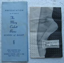 1958 Mary Corbett Burns School of Ballet Program & Capezio Toe Shoes Brochure