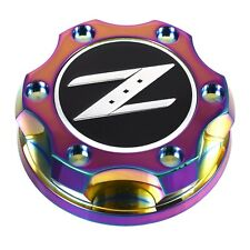 V2 Neo Chrome Billet Oil Cap Filler Black Z Emblem For Nismo GTR 350z 370z 240SX