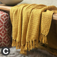 100% Cotton Luxury Waffle Weave Ochre Mustard Yellow Fringed Blanket Throw Soft