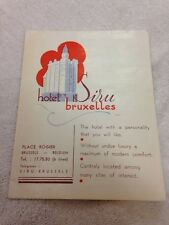 BELGIUM - BRUSSELS, HOTEL SIRU BRUXELLES  Fold Out Brochure With Map, 1940's