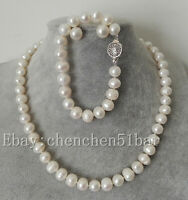 kultivierte 9-10mm weiße Süßwasserperlen Halskette Armband 18/8 Zoll Ohrstecker