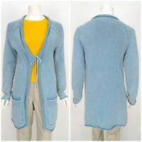 Womens Gudrun Sjoden Cardigan Jumper Knit Blue Cotton Long Size S