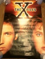 """1995 X Files poster 24"""" X 36"""" sci-fi  Mulder Scully Vintage Rare Faces"""