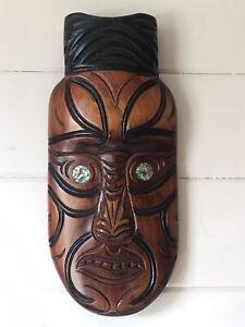 Vintage Maori Hand Carved Wooden Koruru Mask Kauri Wood Paua Shell Rotorua NZ