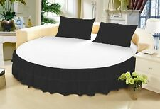 15 Inch Drop Egyptian Cotton Solid Twin Ruffle Round Bed Skirt with Pillowcase