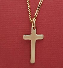 Gold Plated Cross necklace Pendant and Gold Plated chain