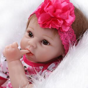 Real 22 Inch Silicone Baby Dolls Cloth Body Soft Lifelike Newborn Reborn Babies