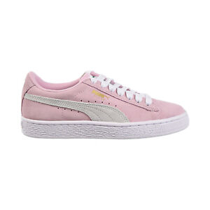 Puma Suede JR Big Kids Shoes Pink Lady-White-Team Gold 355110-30