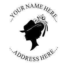 New Custom Return Address Round Self Inking Rubber Stamp Black Lady Face Imprint