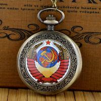 Retro Pendant Pocket Watch Chain Soviet Union Quartz Vintage Necklace Steampunk