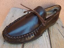UGG AUSTRALIA Mens Casual Dress Shoes Brown Leather Moccasin Loafers Size 8.5M