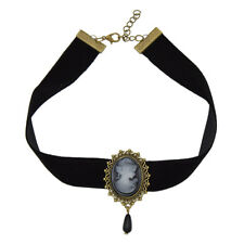 Gothic Victorian Lady Head Cameo Pendant Choker Black Velvet Ribbon Necklace
