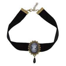 Gothic Victorian Lady Head Cameo Pendant Choker Black Velvet Ribbon Necklace
