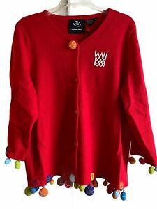 NWT Michael Simon New York Red Basketball Cardigan Sweater XL