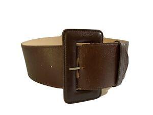 Saba Size M L 12 14 Belt High Waist Wide Dark Brown Leather Big Buckle 95cm