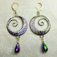Fantasy Silver Plated Wire Spirals Blue/Green Crystal Tears Dangle Earrings NEW