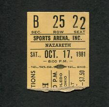 1981 Nazareth Joe Perry Project concert ticket stub The Fool Circle Toledo Ohio