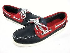 SEBAGO, SPINNAKER OXFORD, WOMEN'S, RED/ NAVY, US Size 9 M, LEATHER