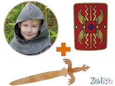 Bouclier bois + Epée + Cotte de maille Chevalier déguisement Knigh Shield Schild