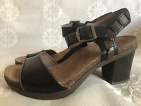 Dansko Debby Black Leather Platform Block Heel Sandals Brown Trim Eur 39 Sz 8.5