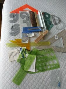 HUGE Lot of Drafting and Engineering Tools Brush, Templates Rulers Compass More
