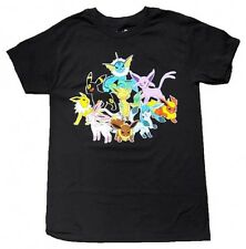 Mighty Fine Pokemon Eevee Evolution Group Text Adult Men Black T-shirt DG457901