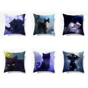 Cat Throw Pillow Cover Cat Printed Cartoon Cushions 1 Pc Fashion Pillowcase FI