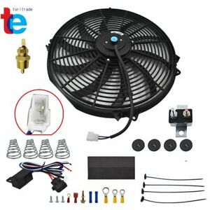 """16""""ELECTRIC RADIATOR FAN HIGH 3000+CFM THERMOSTAT WIRING SWITCH RELAY KIT"""