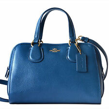NWT Coach Pebble Leather Mini Nolita Satchel Handbag in Denim #33735