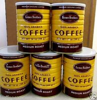 FARMER BROTHERS MEDIUM ROAST 100% ARABICA  14 oz  5 CANS  GROUND COFFEE