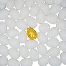 BestPysanky Set of 47 Blank White Plastic Eggs 1 Golden Easter Egg