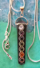 LARGE STERLING SILVER BLACK TOURMALINE CHAKRA PENDANT WITH SILVER CHAIN