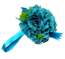 12 Flower Balls ~ Aqua Teal ~  Kissing Ball Pomander Wedding Silk Centerpieces