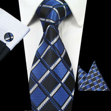 Men Royal Blue Yellow Silk Tie Pocket Square Handkerchief Hanky Set Lot HZBWT077
