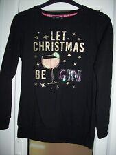 F&f Damen schwarz Weihnachten Sweatshirt. lassen Sie Weihnachten sein Gin. Größe 8. Versandkostenfrei