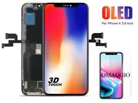 VETRO SCHERMO DISPLAY LCD + TOUCH SCREEN NERO PER APPLE IPHONE X 10 OLED TOP