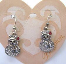 Brighton Lil Snowman Earrings -silver color- crystals  JOY french wire